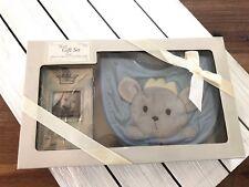 Grasslands Road Prince Baby Boy's Bib & Frame Gift Set - Blue - New