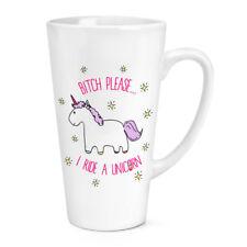 Lila Bitch Please I Ride A Unicorn 17oz Large Latte Mug Cup - Funny