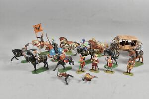 k59h17- Konvolut Elastolin Ritterfiguren, Cowboys & Indianer