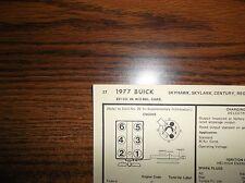 1977 Buick SIX Series Models 231 CI V6 2BBL Tune Up Chart