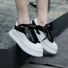 Shiny Sequin Lace Up Womens Platform Creepers Breathable Comfy Trainers Shoes US
