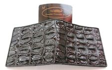 Real Genuine Bone Crocodile Alligator Skin Leather Man Bifold Black Wallet