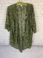 🦄 Small LINDSAY Lularoe Kimono Olive Army Green Lace Leaves and Floral UNICORN