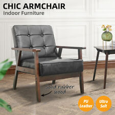 Armchair Lounge Sofa Chairs PU Leather/Wooden Couch Recliner Home Office Decor