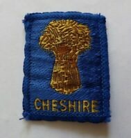 Vintage Scouts Cheshire cloth badge, 2 x 1.5 inches approximately.