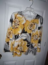 ALFRED DUNNER 3/4 SL  CREW-NECK YELLOW MULTI FLORAL SWEATER,SIZE PXL, NWT $64.00