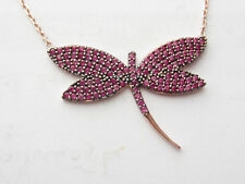 TURKISH ROSE GOLD PLATED 925 STERLING SILVER RUBY DRAGONFLY NECKLACE