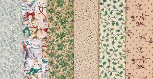 Vintage CHRISTMAS Fabric Bundle - 1990s Cats Ducks Florals VIP Fabri-Quilt 2 Yds