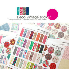 6 Sheet Diary Decorative Adhesive Vintage colorful deco Stickers Craft Decal
