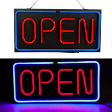 Neon Open Sign 24x12 inch Led Light 30W Horizontal 30W Shops Hanging Chain new