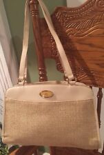 Etienne Aigner Vintage Cream Leather/Jute Weave crossbody purse Excellent!