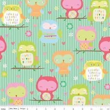 FLANNEL by 1/2 Yard - Riley Blake Fabric ~ Owl & Co. Childrens Cute Owls in Aqua