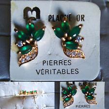 boucles d'oreilles percées plaqué or fleur émeraudes et zirconiums stock limité