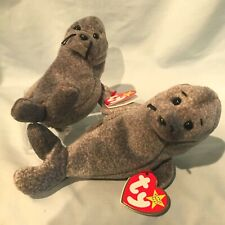 """Silppery Seal #4222 Lot of 2 Ty Beanie Babies1999 Pe Retired 6"""" $15.99"""
