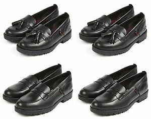 Girls KICKERS Black Leather Shoes Lachly Loafer Womens School New Slip Size 12-8