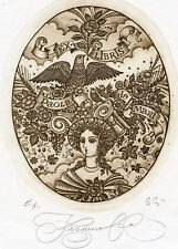 Bird 's Nest on The Head of Cariatide Ex libris Etching by Nina Kazimova, Russia