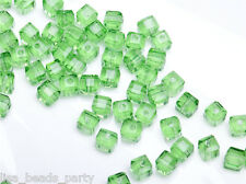 50pcs 4mm Cube Square Faceted Crystal Glass Charm Loose Spacer Beads Light Green