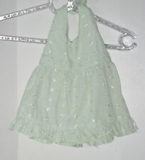PRINCESS GIRL Size 2T Green Eyelet Embroidered Halter Dress