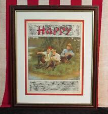 Vintage 1920s 'Happy' Song Antique Sheet Music Fishing Graphic Cover Victorian
