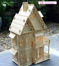 "3D wooden puzzle dollhouse 21"" wood villa 6 rooms kit (Coloured Gothic Villa)"