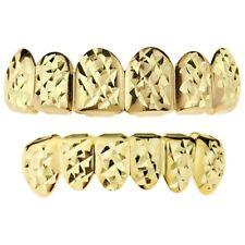 14k Gold Plated Grillz Set Diamond-Cut 12 PC Teeth Hip Hop Top & Bottom Grills