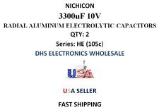 NICHICON 3300uF 10V Electrolytic Radial Capacitors 8000 Hrs@105°C 12.5X25mm 2Pcs