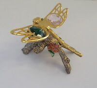 Figurine- Dragonfly gold plated- Austrian crystals- on branch green & pink