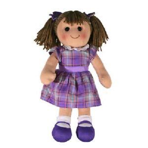 New Hopscotch Childs Toy Rag doll Penny soft body ragdoll purple tartan dress