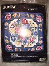 "1996 Bucilla ""Tulips and Roses"" Needlepoint Pillow Kit, #4719 - New - Nisp"
