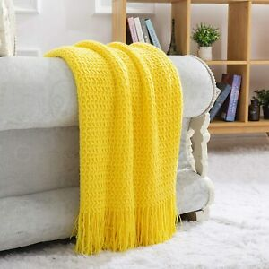 NUYECY Grade A Acrylic Knitted Throw Blanket,Woven Blanket with Tassels Wave Tex