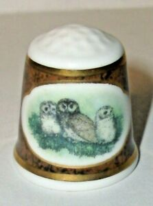 """A RARE MAYFAIR EDITION BONE CHINA OWL THIMBLE """"THE SPOTTED OWL 🦉"""""""