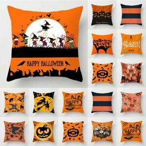 "UK 2021 18"" Halloween Pumpkin Cartoon Cushion Cover Pillow Case Sofa Home Decor"