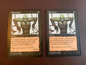 MTG -Lot 2-Sorcery Cards- 'Reanimate' -Tempest-Uncommon-LP Magic the Gathering