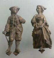 Personnages sculpture en Régule , déco de pendule marquis et marquise ancien,XIX