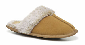 Hotter Women's Honey Slip On Slippers Suede-Faux Fur Slip On Adult Slippers