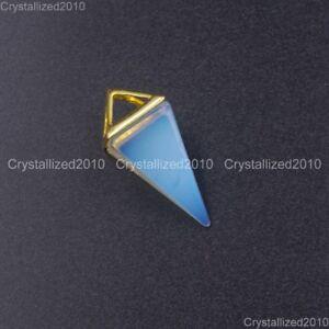 Natural Gemstones Amethyst Crystal Pyramid Pointed Reiki Chakra Silver Pendant