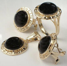 14K Yellow Gold Matching Onyx Earrings, Pendant & Ring
