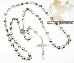 45 Grams 7mm 925 STERLING SILVER ROSARY GOLD FINISH CHAIN NECKLACE