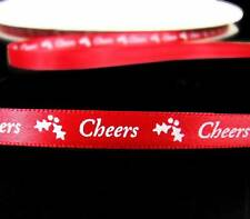 """Sale ! - 10 Yards Christmas Cheers Holly Red Satin Ribbon 3/8""""W"""