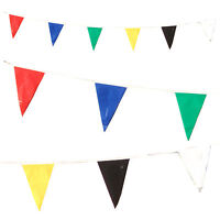 Bunting Multi Colour 10 Metres 6 Colours Flags Party Rainbow Weather proof Blue