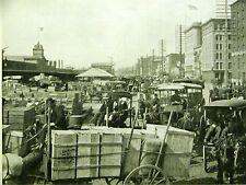 West Street Docks NYC -  HUDSON RIVER Horse Buggy Merchants 1899 Antique Print
