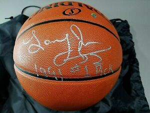 LARRY JOHNSON AUTOGRAPHED BASKETBALL SIGNED 91 #1 DRAFT PICK HORNETS KNICKS COA