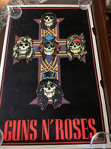 Guns N' Roses Cross #819 Black Light Felt Poster 35x23 Funky Enterprises 1988