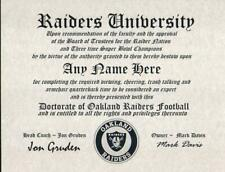 OAKLAND RAIDERS NFL FAN ~CERTIFICATE~DIPLOMA ~MAN CAVE~OFFICE #1 SPORTS GIFT