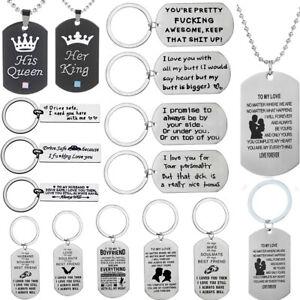 Keyring Couple Husband Wife Boyfriend Necklace Valentines Gift Keychain Pendant
