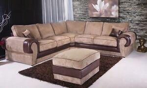 Kingsize Corner Sofa Fabric Grey Black Brown Mocha Soft Original Milan Suite Set