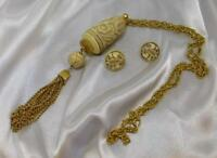 Vintage CROWN TRIFARI Marco Polo Asian Carved Lucite Necklace & Earrings