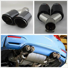 DIY 63mm Inlet Glossy Real Carbon Fiber Car Dual Exhaust Pipe Tail Muffler Tips