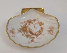Vintage Limoges France ~ Porcelain Shell Dish with Peacock, Flowers & Gold Trim