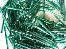 VTG 500 FOREST GREEN SILVER LINED 30mm BUGLE BEADS FRINGE #121811m 150 grams
